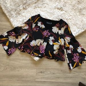 MINKPINK Cropped Floral Print Blouse